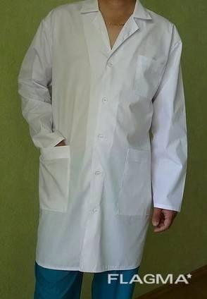 Мужской медицинский халат Класик, ткань батист