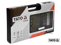 """Набір щіток до свічних гнізд зі сталі латуні нейлону YATO 150 мм HEX- 1/4"""" 38 шт"""
