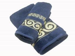 Набор махровых полотенец Parisa Касабланка хлопковые 50х90, 70х140 темно-синий. ..