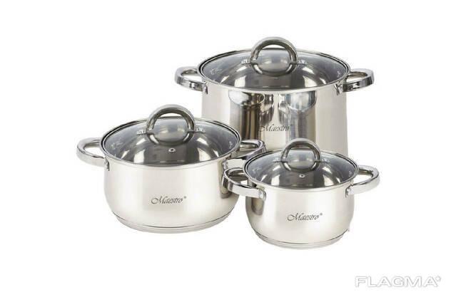 Набор посуды нержавеющий Maestro - 1,5 x 3 x 5 л (3 шт. ). ..