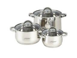 Набор посуды нержавеющий Maestro - 1,5 x 3 x 5 л (3 шт.)...