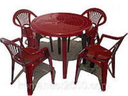 Набор садовой мебели Стол Круг и 4 стула Луч вишневый