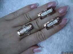 Наборы из серебра с золотом (кольцо и серьги)