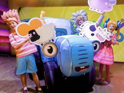 Надувная декорация для детей синий трактор