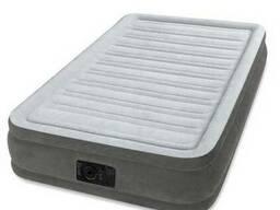 Надувная флокированная 191х99х33 кровать Intex 67766, серая
