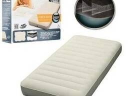 Надувной флокированный матрас INTEX 64702 серый