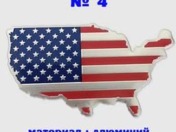 Наклейка на авто или мото Флаг Америка № 4 алюминиевые