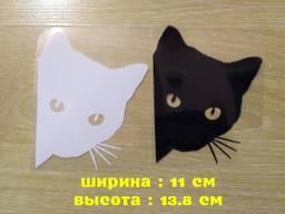 Наклейка на авто Кот на авто Белая, Чёрная