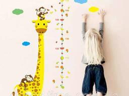 """Наклейка ростомер в детскую комнату """"Жираф"""" 130х86см. .."""