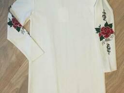 Нарядное трикотажное платье с тату молочного цвета для девочки 164
