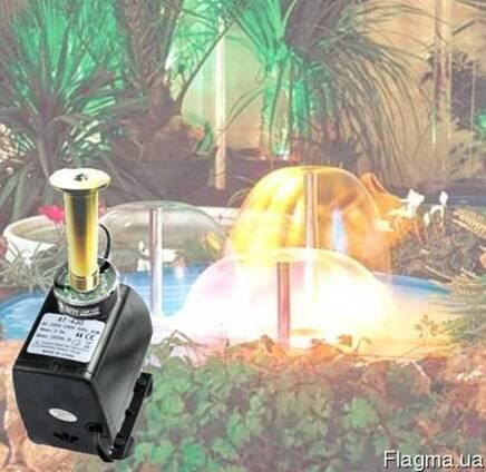 Насос для фонтана с подсветкой и насадкой Грибок