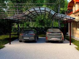 Навес из поликарбоната для двух машины.