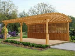 Пергола, навес деревянный с арочной крышей
