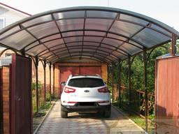 Навес для авто для дома из поликарбоната накрытие