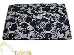 Наволочка декоративна, чорна, квадрат, білі рельєфні квіти