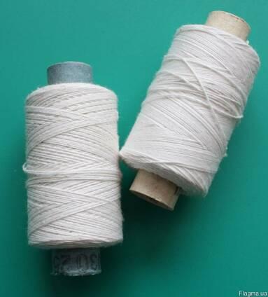 Нитки х/б для шитья в бобинах белые