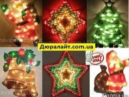 Новогоднее панно Звезда, Дед мороз, Елка, Колокольчик 120 ми