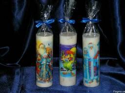 Новогодние свечи с полиграфическим изображением