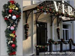 Новогоднее оформление витрин, ресторанов, отелей в Крыму.