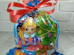 Новогодняя подарочная упаковка для конфет 20см 30см Снегурочка на синем (100 шт)