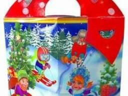 """Новогодняя упаковка """"Бант веселый дед Мороз"""" 700г."""