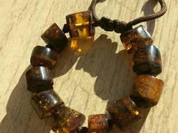 Объемный янтарный браслет из натурального тёмного янтаря Крупные шайбы