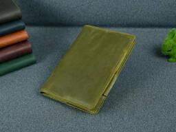 Обложка для ежедневника формата А5, Модель № 12, Винтажная кожа, цвет Оливковый