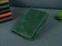 Обложка для ежедневника формата А5, Модель № 12, Винтажная кожа, цвет Зеленый