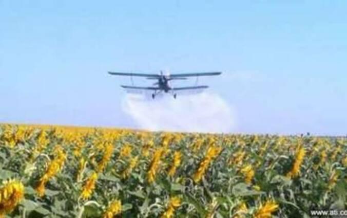 Обработка полей с воздуха самолетом
