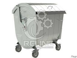 Оцинкованный евроконтейнер для мусора и отходов ТБО 1.1