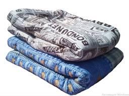 Одеяло ватное полушерстяное евро. Ткань верха: бязь Материал наполнения: ватин, полушерсть