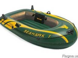 Одноместная надувная лодка с надувным дном intex 68345