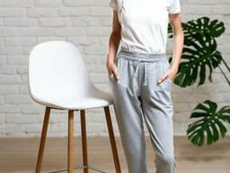 Спортивные брюки-джоггеры девочке серого цвета 40