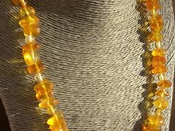 Оригинальное янтарное ожерелье, бусы из прозрачного янтаря