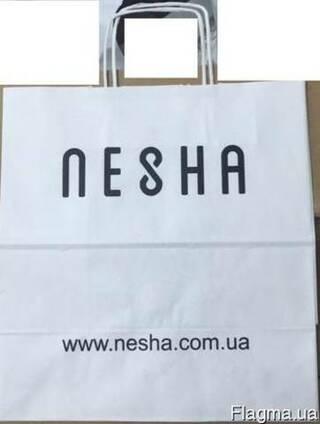 Пакет из белой крафт бумаги с кр. ручками 305*170*34(NESHA)