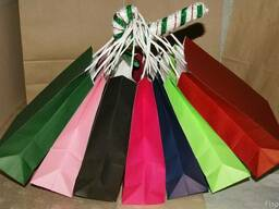 Пакети крафтові кольорові з ручками 200х80х240