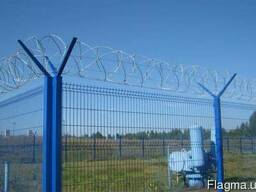 Панельный забор из сварной сетки, цвет - синий