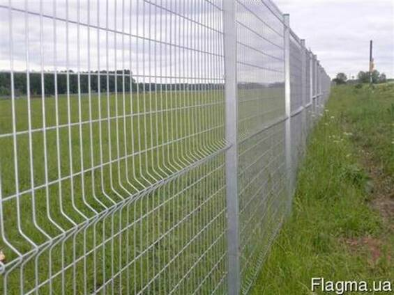 Панельный забор из сварной сетки, цвет - серый