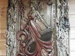 Пано резьба по дереву Спартанка в эксклюзивной раме. Подарок