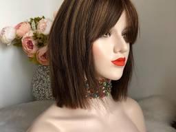 Парик из натуральных волос №92 — качественный парик из 100% натуральных волос с челкой
