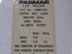 Дроссель (балласт) 1000Вт 380В Parmar (Англія)