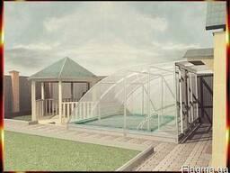 Павильон телескопический над бассейном. Навес для бассейна.