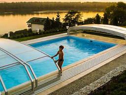Павильон из поликарбоната для бассейна раздвижный арочный