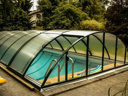 Павильоны из поликарбоната для бассейнов раздвижные арочные