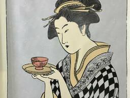 Печать картин холст портрет японской девушки (чайная церемония) рисунок по номерам№14. ..