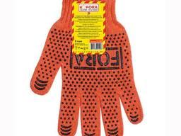 Перчатки белые с ПВХ точеками, рукавички білі без ПВХ крапок
