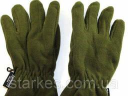 Перчатки флисовые двойные Тинсулейт, цвет Олива, № 10. .. .