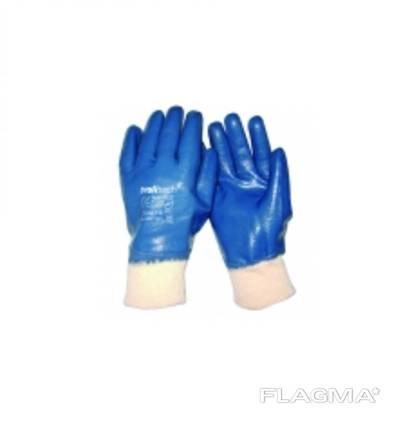 Перчатки х/б покрытые нитрилом, вязаный манжет