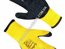 Перчатки хлопчатобумажные желтые с черным вспененным неполным латексным покрытием FLL. ..