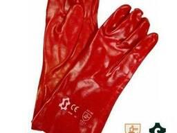 Перчатки из толстого слоя красного ПВХ на х/б основе